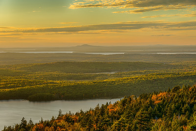 Eagle Lake and Fall Color Sunset from Cadillac Mountain