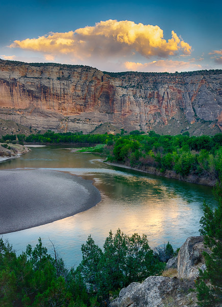 Sunset Cloud and Green River, Echo Park, Dinosaur National Monument